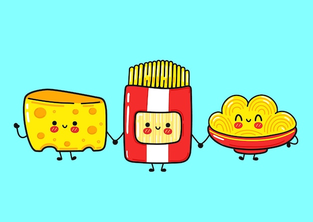 Set di bundle di personaggi divertenti e simpatici spaghetti felici con formaggio.