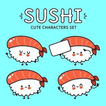 Set di divertenti personaggi dei cartoni animati di sushi felici e carini
