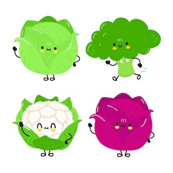 Set di bundle di personaggi di cavolfiore broccoli cavolfiore cavolo rosso cavolo bianco felice carino divertente