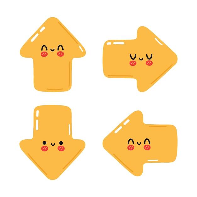 Set di divertenti simpatici personaggi con frecce gialle felici