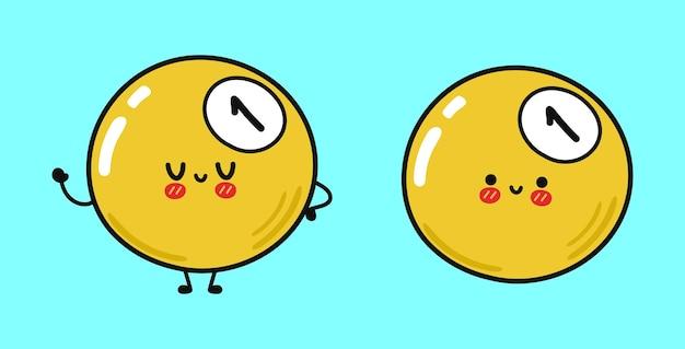 Divertenti simpatici personaggi di palla da biliardo gialla felice