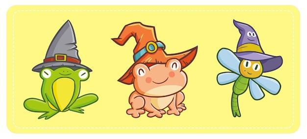 Simpatiche e simpatiche rane kawaii e libellula che indossano il cappello della strega per halloween.
