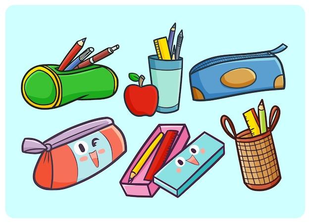 Collezione di astucci divertenti e carini in stile doodle kawaii