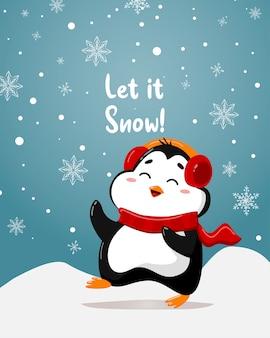 Un divertente e simpatico pinguino inverno e scritte