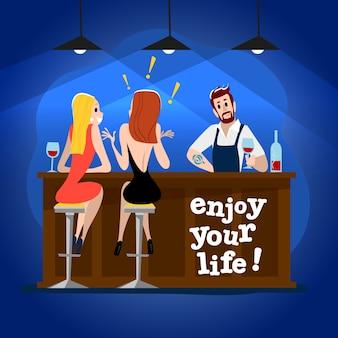 . . persone carine divertenti al tavolino del bar, tavolo da bar. ragazzo e ragazza che si siedono nel ristorante su una data. party serale. cameriere, personaggi dei visitatori.