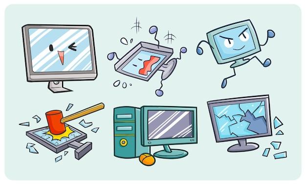 Divertente e simpatica collezione di personal computer in stile doodle kawaii