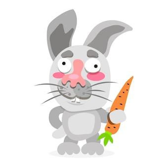 Coniglio divertente e carino che tiene carota - illustrazione vettoriale.