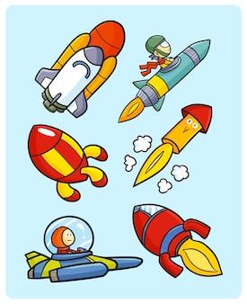 Collezione di razzi divertenti e carini in semplice stile doodle