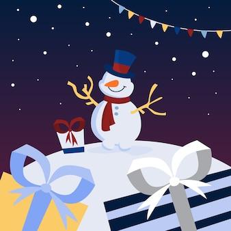 Carattere divertente simpatico pupazzo di neve in cappello blu e sciarpa rossa con doni intorno. celebrazione di natale e capodanno. bellissimo biglietto di auguri. illustrazione
