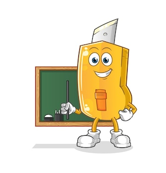 Disegno divertente dell'illustrazione dell'insegnante della taglierina