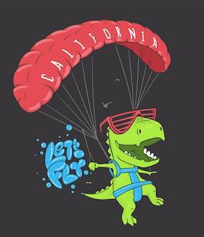 Dinosauro divertente con il parapendio. disegno di stampa camicia vettoriale.