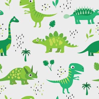 Dinosauri divertenti tra le palme e le foglie. modelli senza soluzione di continuità. illustrazione vettoriale per bambini in uno stile disegnato a mano.