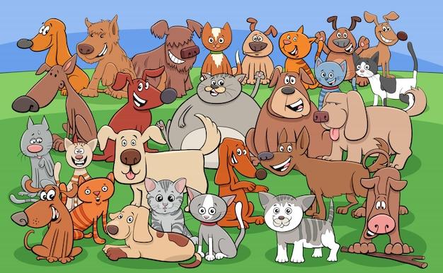 Gruppo di personaggi dei cartoni animati divertenti cani e gatti