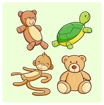 Collezione di bambole divertenti in stile doodle kawaii