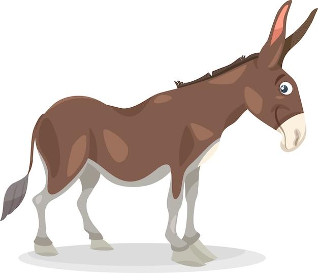 Illustrazione di cartone animato divertente asino