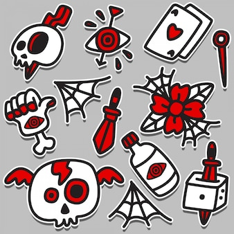 Illustrazione divertente di progettazione del tatuaggio di scarabocchio