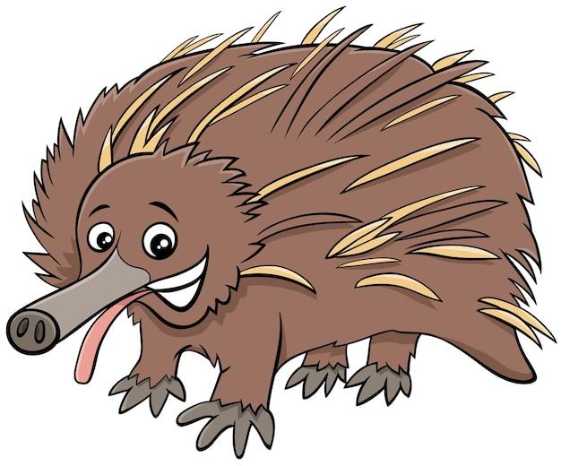 Divertente personaggio animale dei cartoni animati di echidna