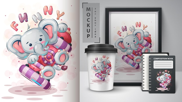 Elefante divertente - illustrazione e merchandising