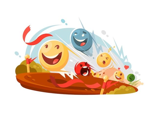 Faccine emotive divertenti competono in gara. illustrazione piatta vettoriale