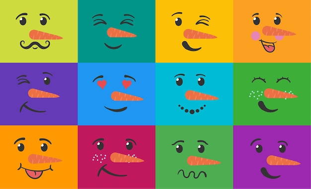 Pupazzo di neve faccia buffa set emoticon divertenti sorridono con espressioni teste di pupazzi di neve scarabocchi disegnati a mano piatta