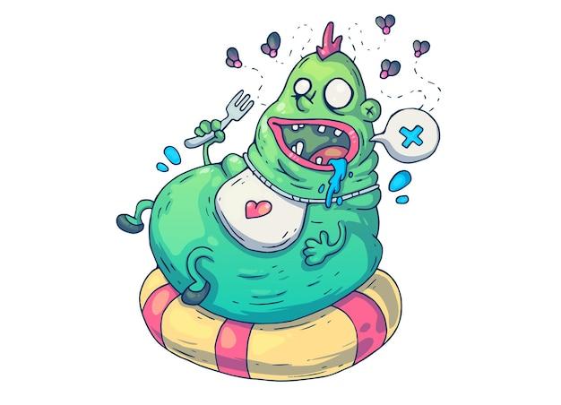 Uomo grasso divertente. illustrazione del fumetto creativo. Vettore Premium