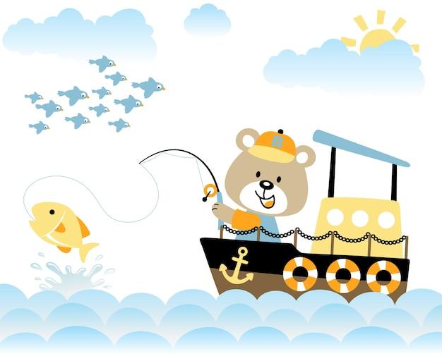 Cartone animato divertente pescatore
