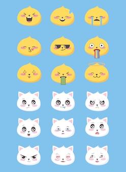 Set di icone di emoticon emoji divertente stile piatto facce gatti espressione facciale