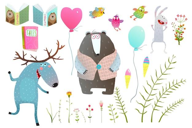 Amici divertenti animali della foresta con oggetti isolati insieme.