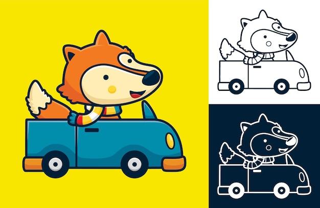 Volpe divertente che indossa una sciarpa alla guida di un'auto. illustrazione di cartone animato in stile icona piatta