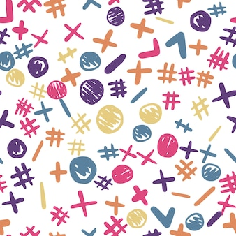 Modello senza cuciture di forme divertenti a mano libera. sfondo colorato. carta da parati carina. design semplice per tessuto, stampa tessile, confezionamento. illustrazione vettoriale