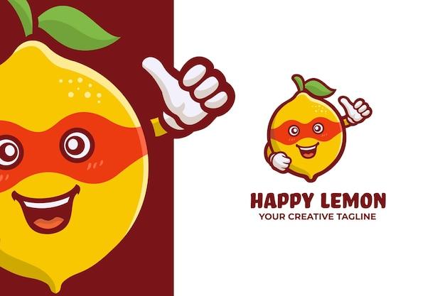 Divertente mascotte con logo di frutta fresca al limone