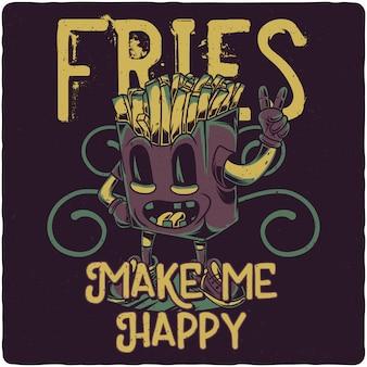 Un personaggio divertente di patatine fritte