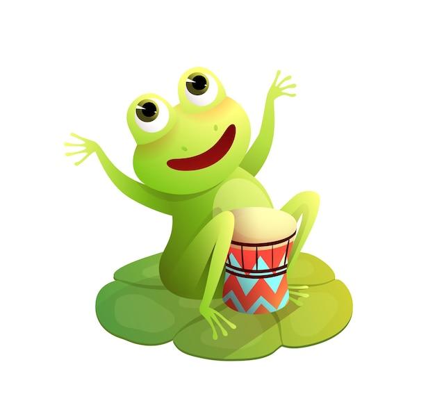 Concerto divertente della rana sul rospo o sulla rana felice della ninfea che suona lo strumento musicale dei tamburi su un baccello