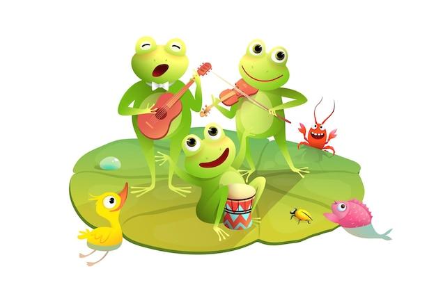 Concerto di rane divertenti sulle ninfee felici o rane che suonano tamburi violino e chitarra sullo stagno
