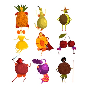 Set di personaggi dei cartoni animati divertenti frutti
