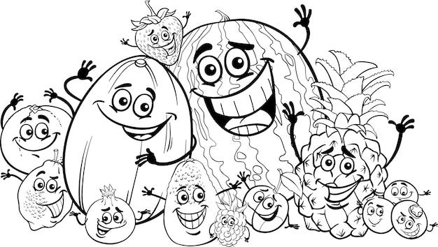 Cartone animato divertente frutta per libro da colorare