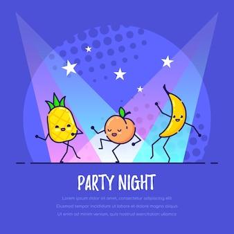 Frutta divertente ballare nel night club. ananas, pesca e banana. notte di festa.