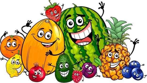 Illustrazione divertente del fumetto del gruppo di frutti