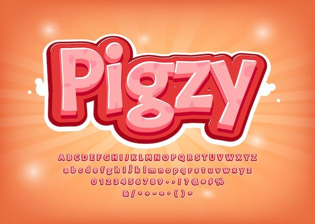 Gioco divertente, carattere maiale, titolo stile fumetto, effetto testo, alfabeto rosa. numeri, simboli