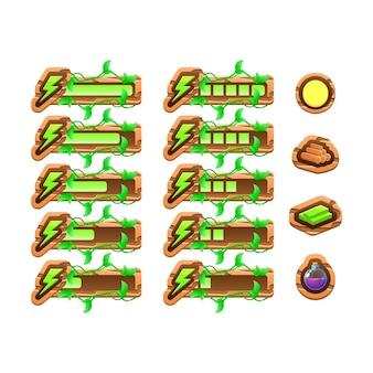 Divertente gioco ui la natura in legno lascia la barra del pannello del modello di energia per gli elementi delle risorse della gui