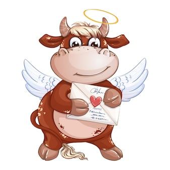 Un simpatico ragazzo vitello rosso con ali di cupido e aureola tiene una busta con un timbro a cuore.