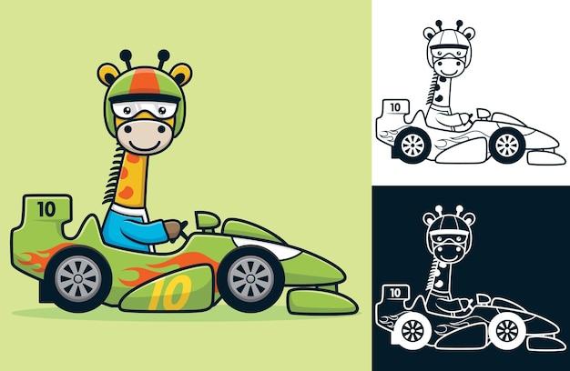 Giraffa divertente che indossa il casco alla guida di un'auto da corsa. illustrazione del fumetto di vettore nello stile dell'icona piana