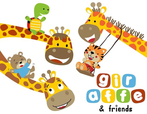 Cartone animato divertente giraffe con piccoli amici