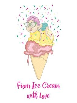 Ragazza divertente con i capelli rosa sul gelato