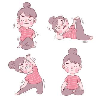 Progettazione divertente della raccolta dell'illustrazione del fumetto di yoga della ragazza