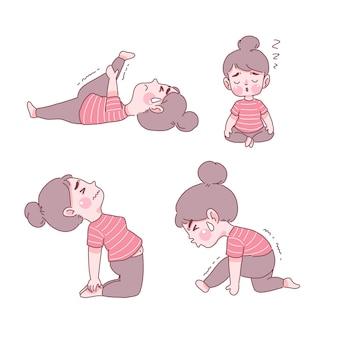 Ragazza divertente nello yoga pone insieme