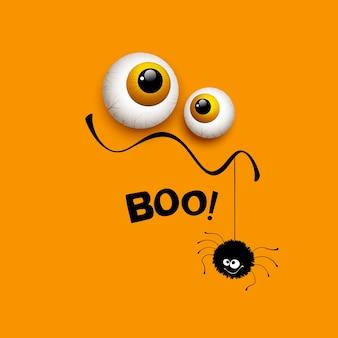 Occhi di mostro divertente biglietto di auguri di halloween. illustrazione vettoriale eps 10