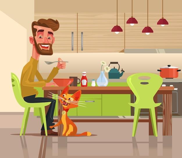 Il carattere divertente del gatto felice chiede l'illustrazione dell'alimento