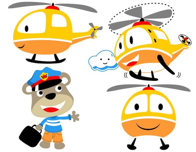 Cartone animato divertente elicottero con piccolo pilota