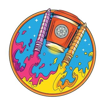 Divertente umorismo caffè space shuttle illustrazione in stile piatto